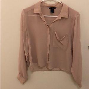 Pink silk button down top